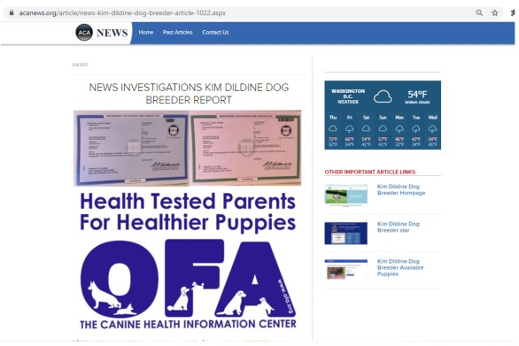 Kim Dildine dog breeder news article report