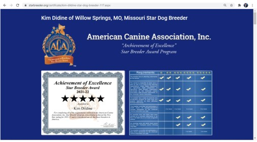 Kim Dildine dog breeder 5 star willow springs, MO