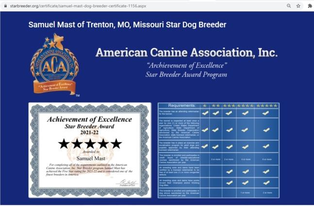 goodbreeder, samuel, mast, dog, breeder, trenton, mo, missouri, samuel-mast, usda, dog-breeder, 43-A-6314, 43A6314, pet, store, puppy, mill, puppymill, show, breeders, kennels, star, certificate, breeds, ribbions
