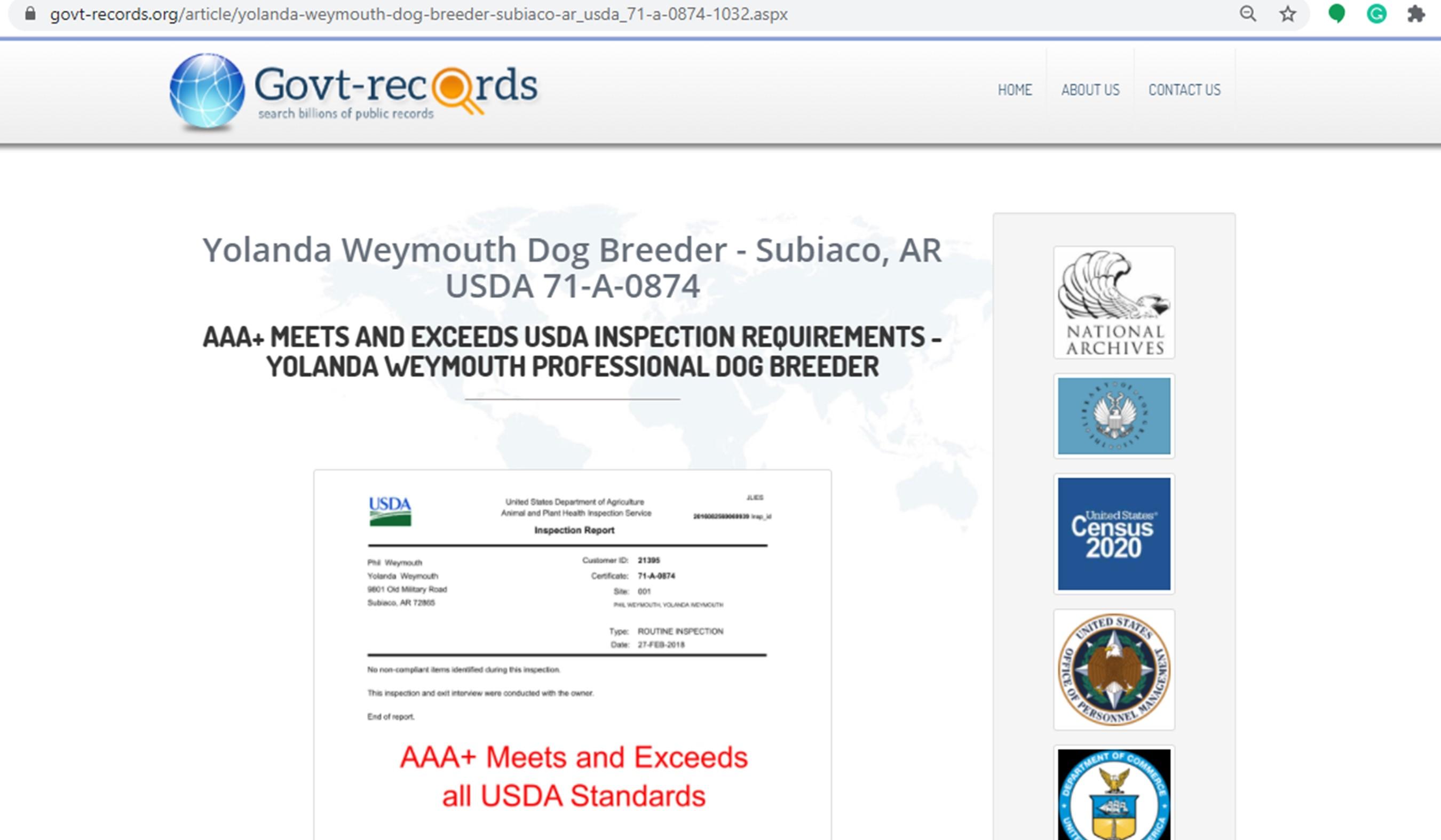 yolanda, weymouth, good, dog, breeder, phil, yolanda-weymouth, dog, breeder, subiaco, ar, arkansas, aphis, inspection, record, yorkshire, daschund, puppy, mill, puppymill, usda, 71-a-0874, 71a0874, inspection, records, kennel